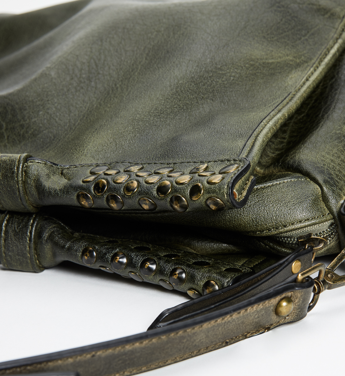 Large Studded Satchel, Olive, swatch