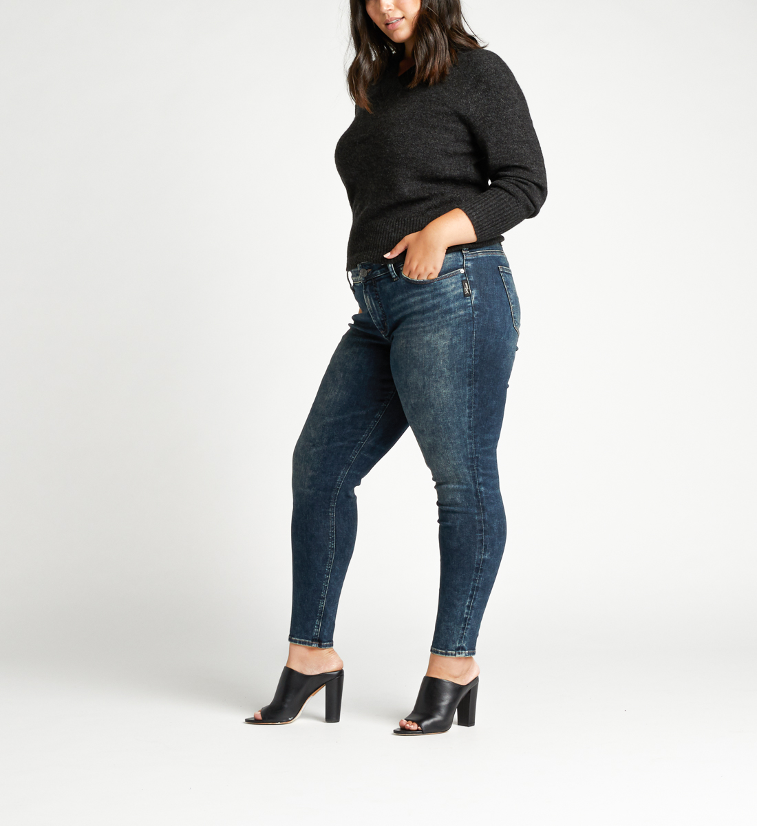 Elyse Mid Rise Skinny Plus Size Jeans Side