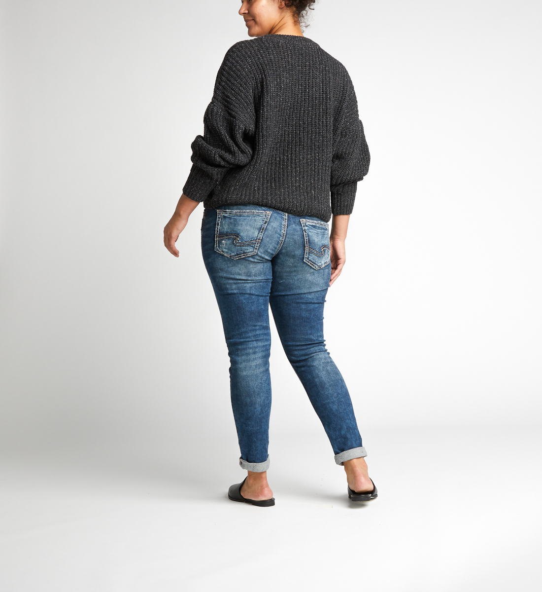 Girlfriend Mid Rise Skinny Leg Jeans Plus Size Back