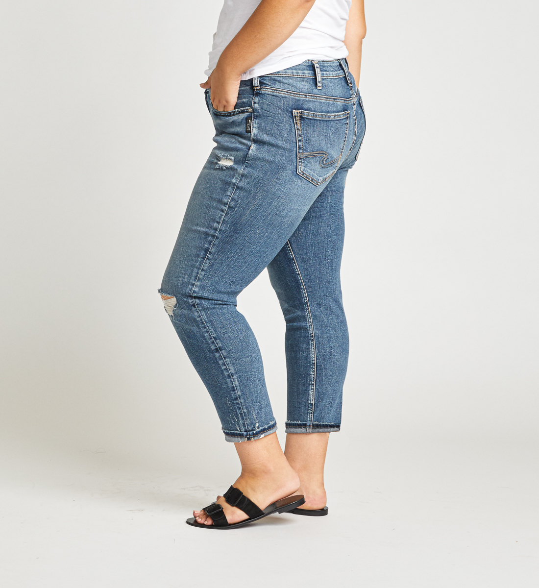 Boyfriend Mid Rise Slim Leg Plus Size Jeans Side