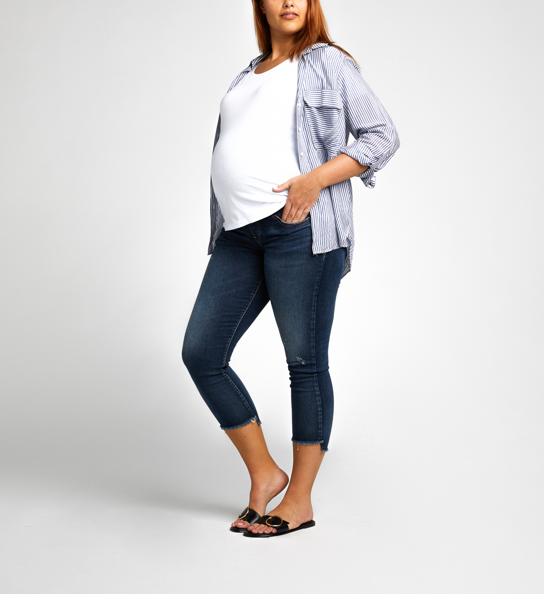 Avery Skinny Crop Maternity Jeans Front