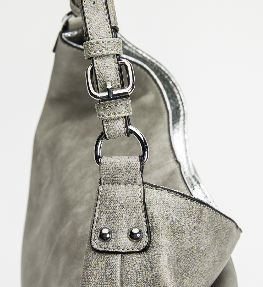 Vintage Print Satchel,Grey Side