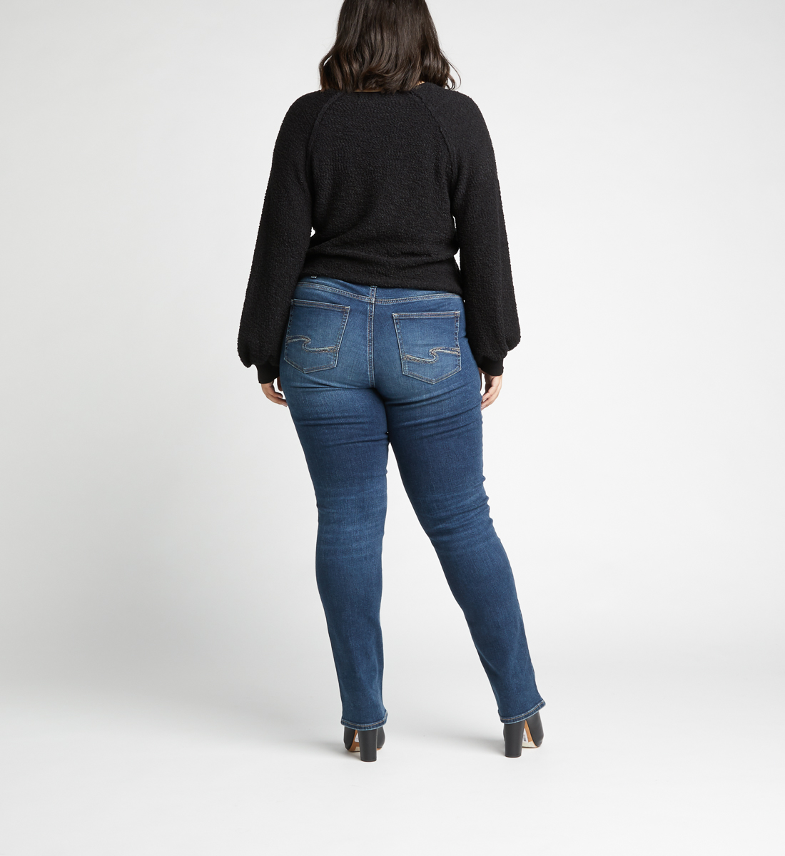 Avery High Rise Straight Jeans Plus Size,Indigo Back
