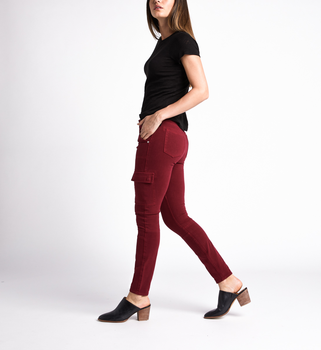 Cargo Mid Rise Skinny Leg Jeans,Red Side