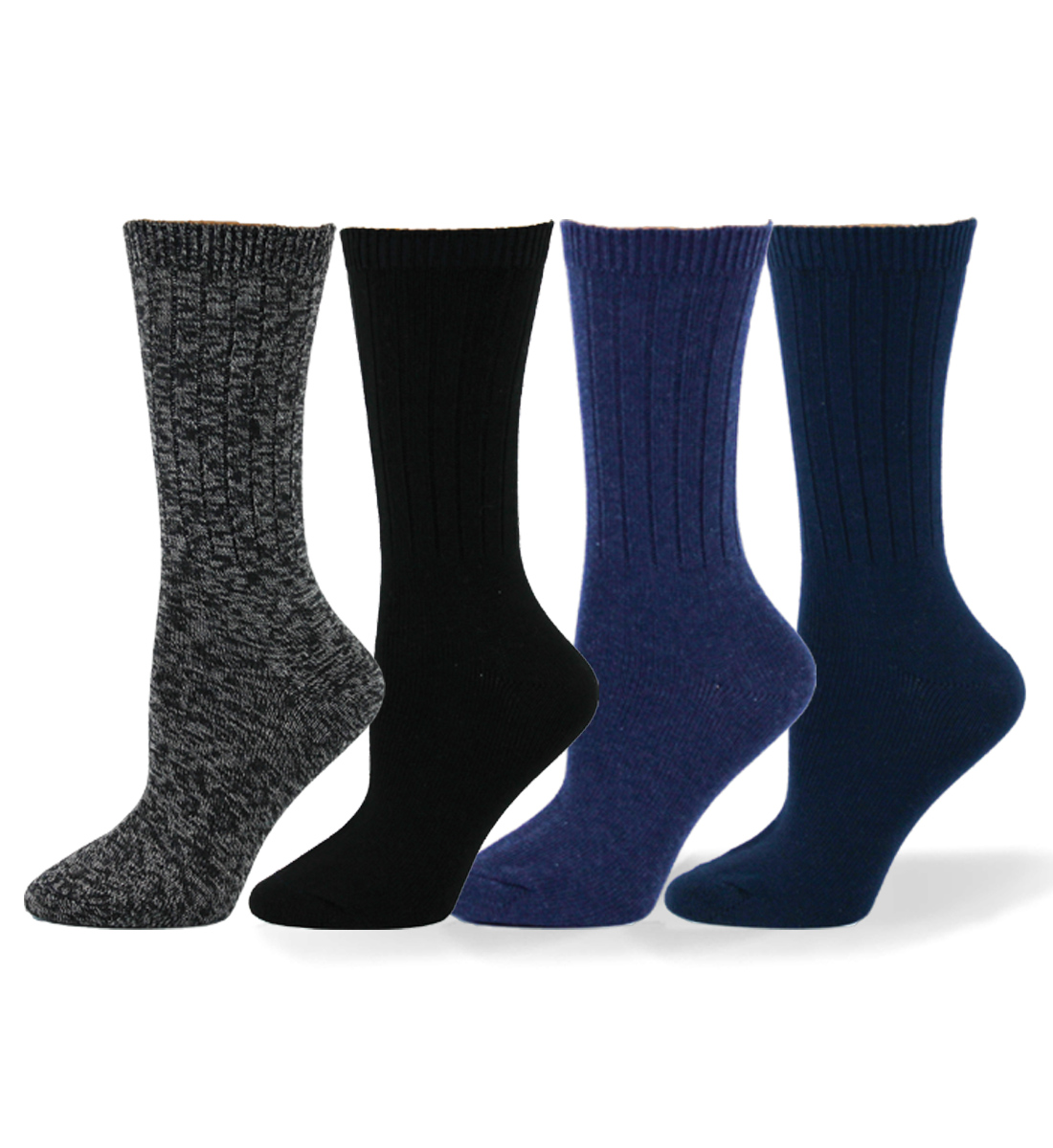 Ribbed Mid-Calf Socks, Charcoal, hi-res