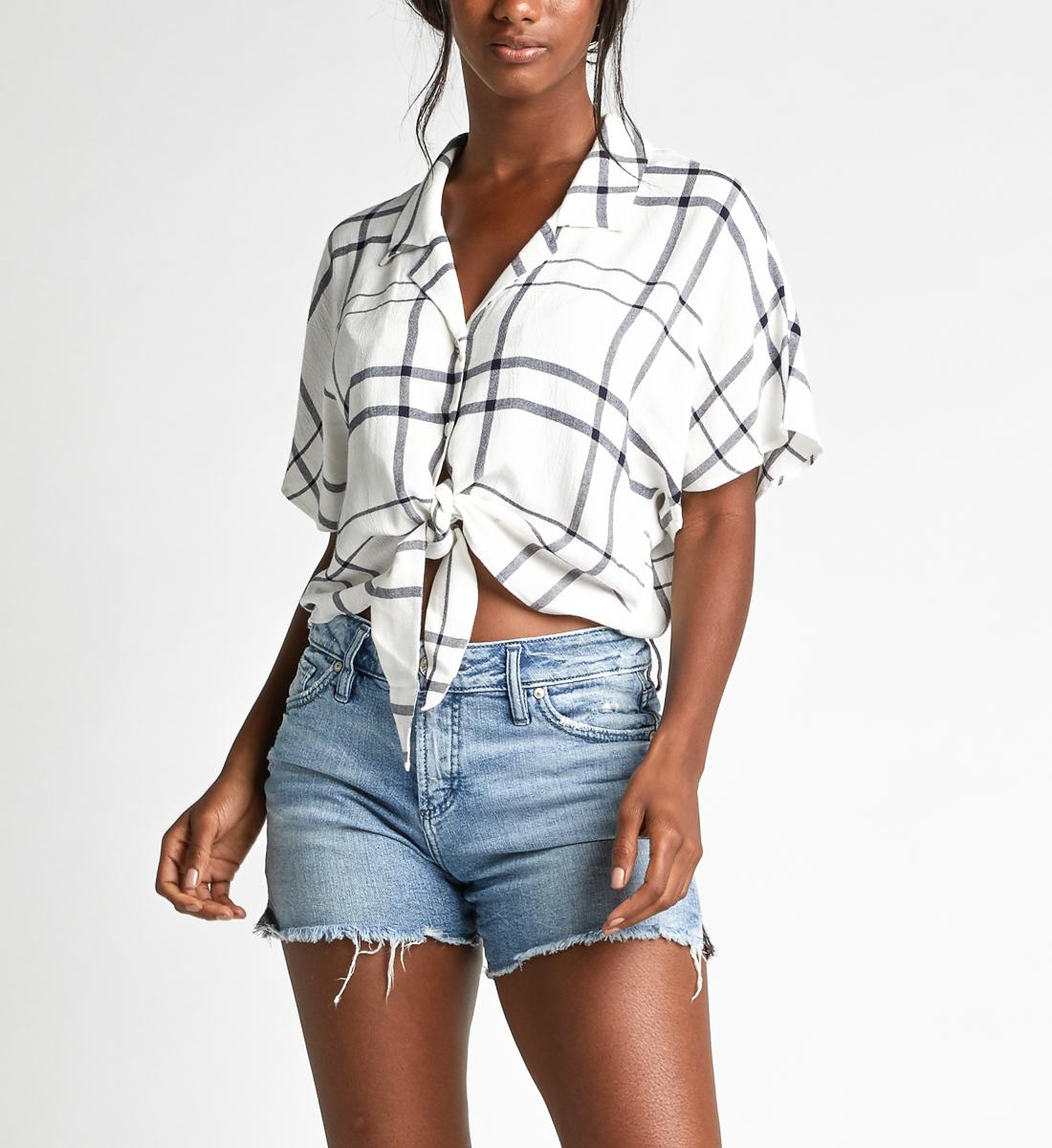72dfc288f Sunny Cropped Dolman Tie-Waist Plaid Shirt - Silver Jeans US