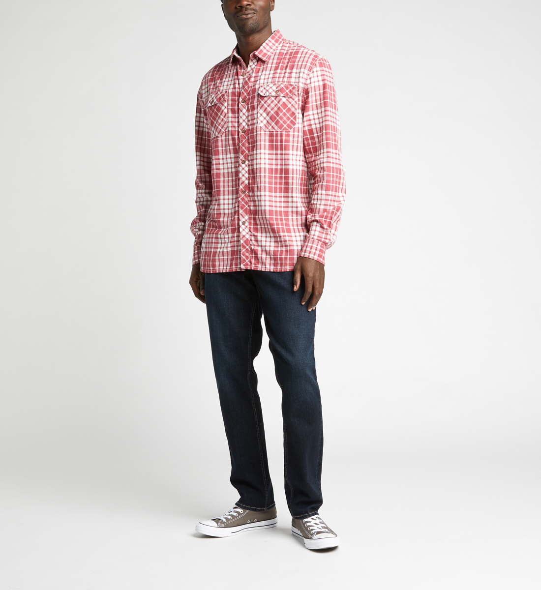 Charly Long-Sleeve Plaid Button-Down Shirt,Red Back