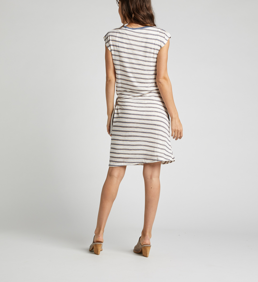 Arlene Side-Knot Striped Dress,White Side