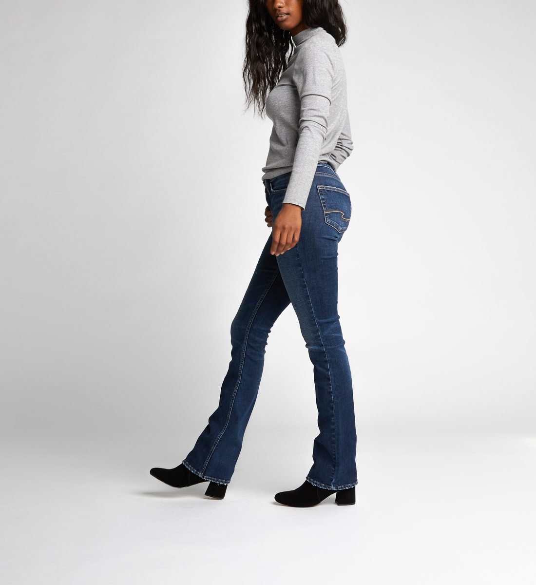 Aiko Slim Boot Mid Dark Wash, , hi-res