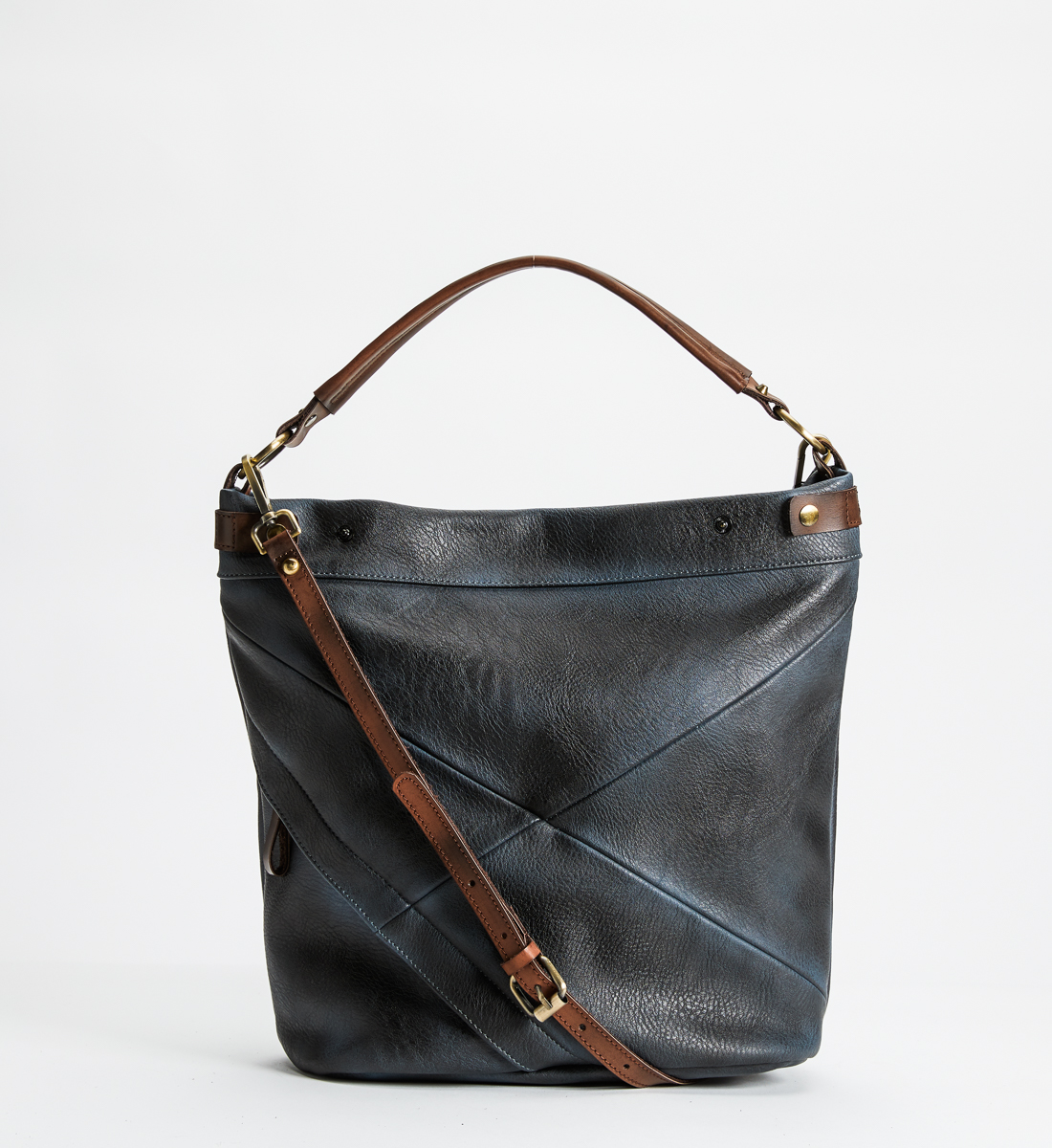Vintage Style Pieced Hobo, Navy, hi-res