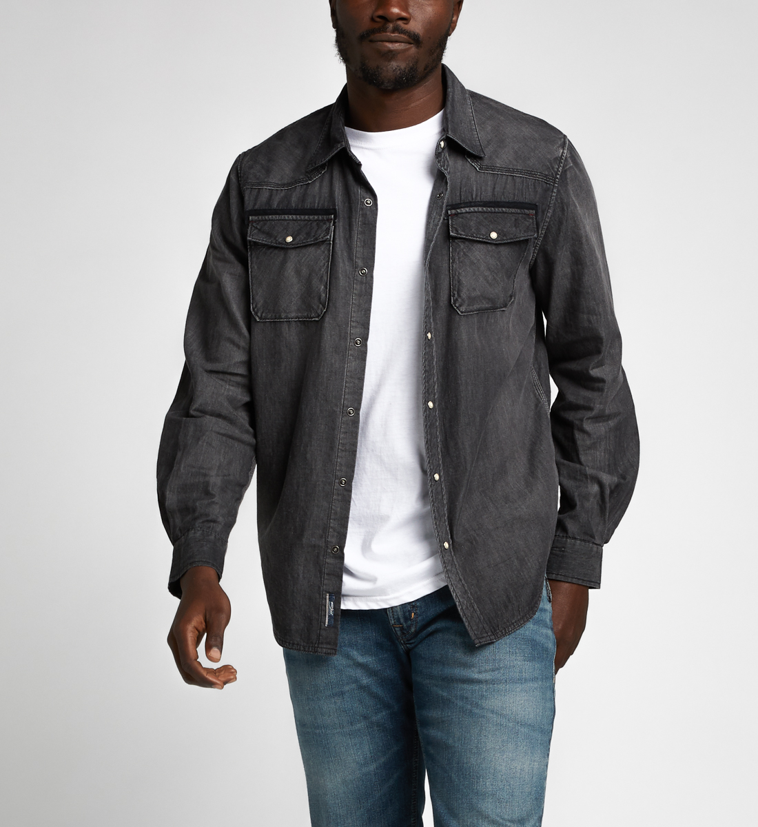 Charles Classic Denim Shirt Final Sale,Black Front
