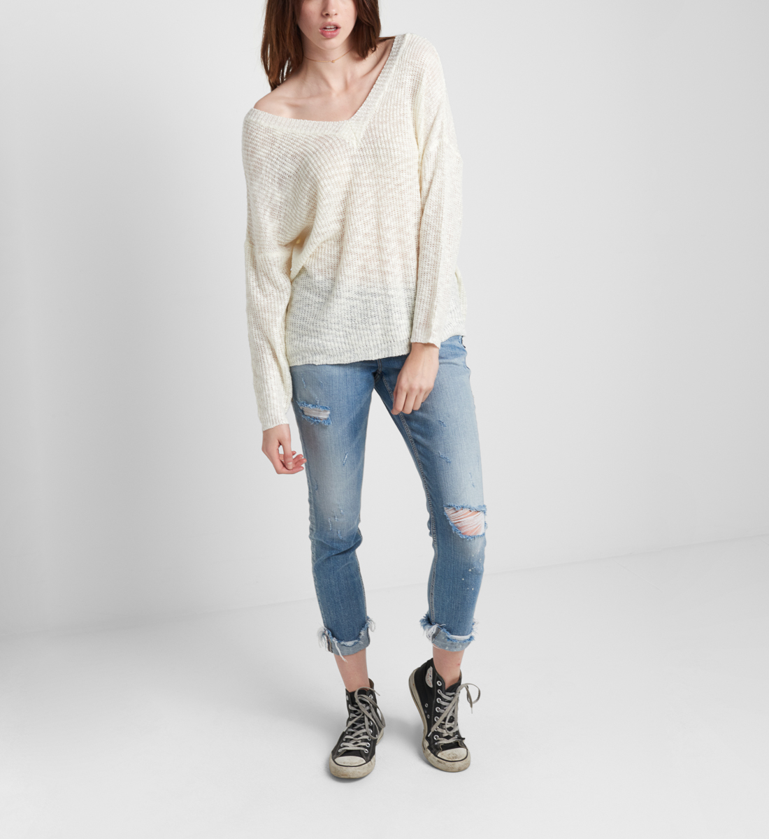 Slub Sweater With V Back Front