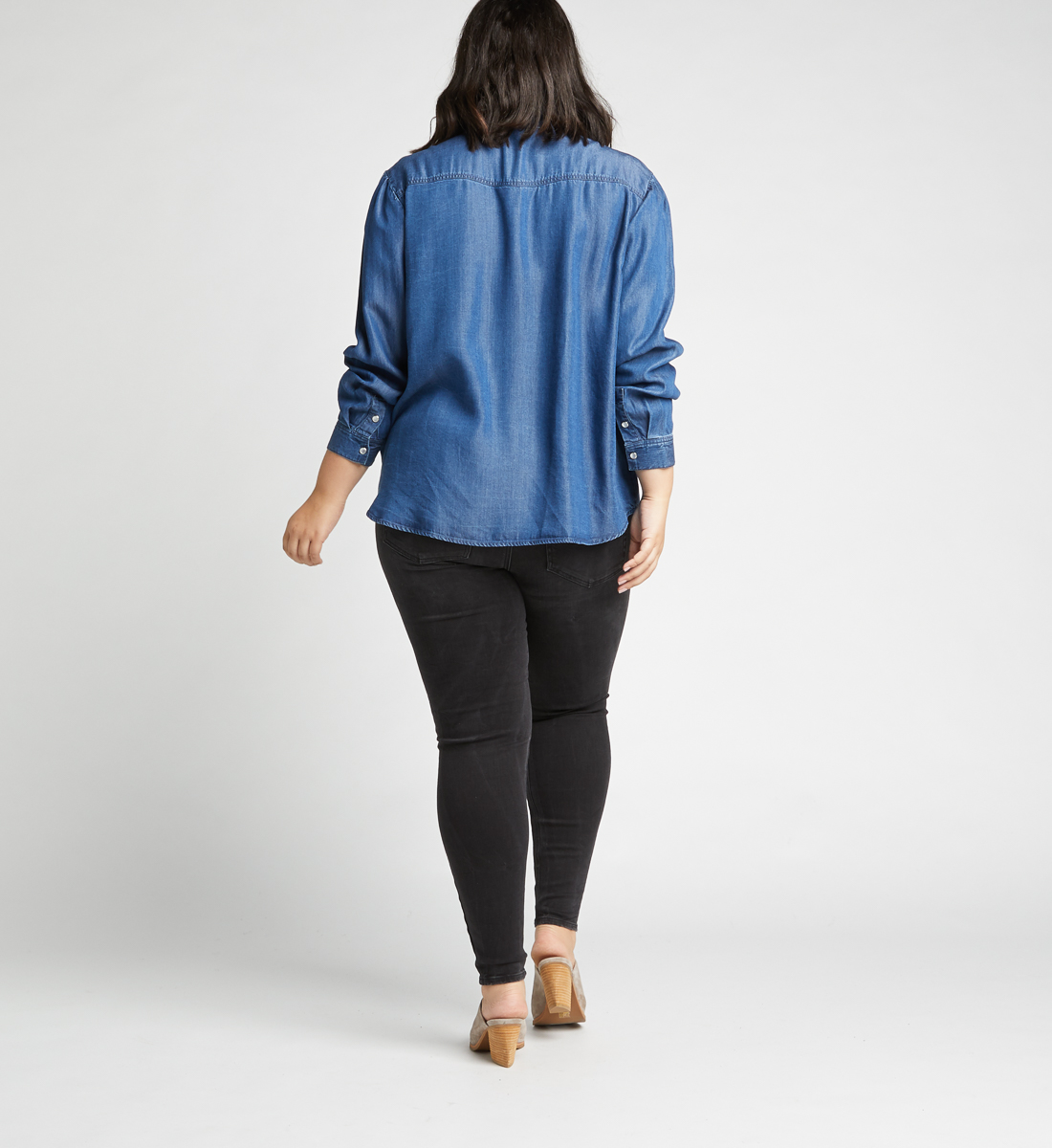 Saralyn Puff-Sleeve Denim Shirt,Indigo Side