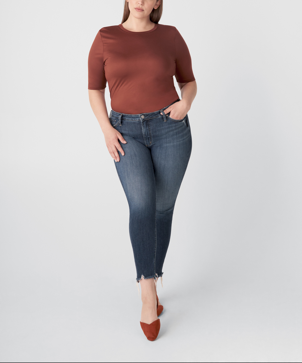 Most Wanted Mid Rise Skinny Jeans Plus Size - Eco-Friendly Wash Front