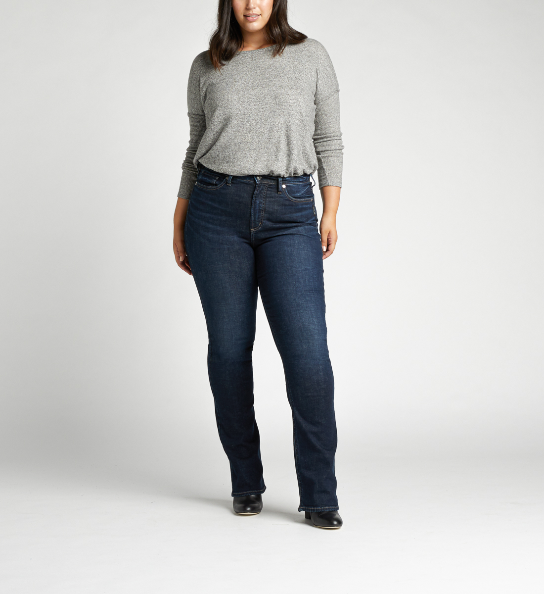 Calley Super High Rise Slim Bootcut Plus Size Jeans Alt Image 1