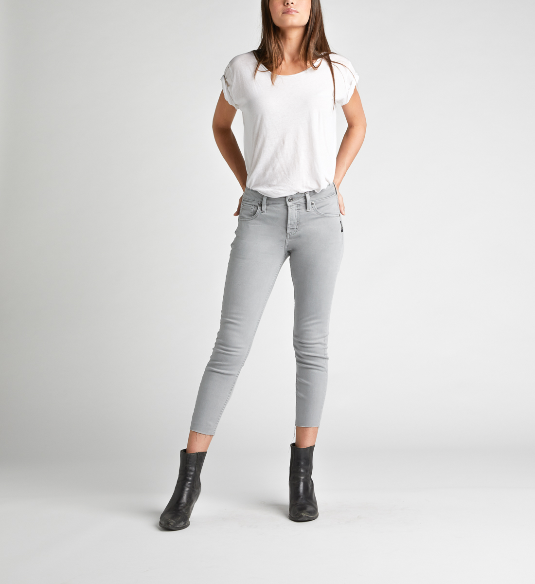 Avery High Rise Skinny Crop Pants,Grey Front