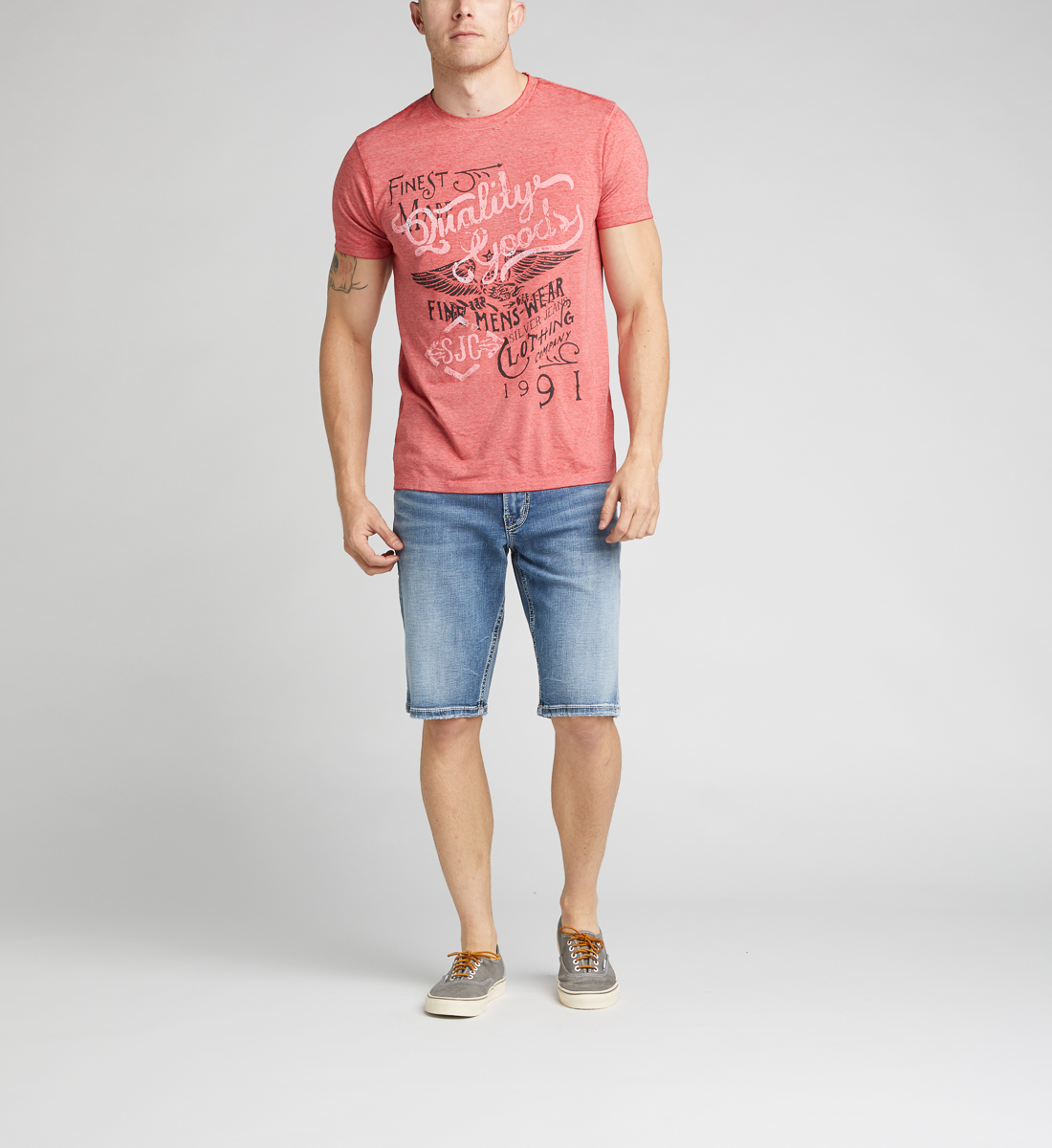 Daylan Short-Sleeve Graphic Tee, Red, hi-res