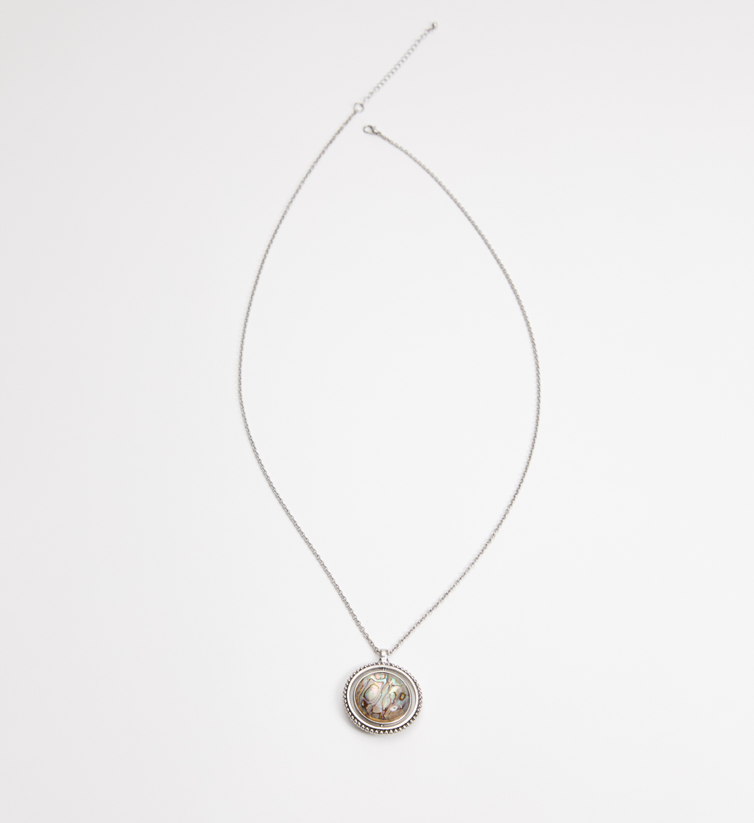 Silver-Tone Spinner Pendant Necklace,Silver Front