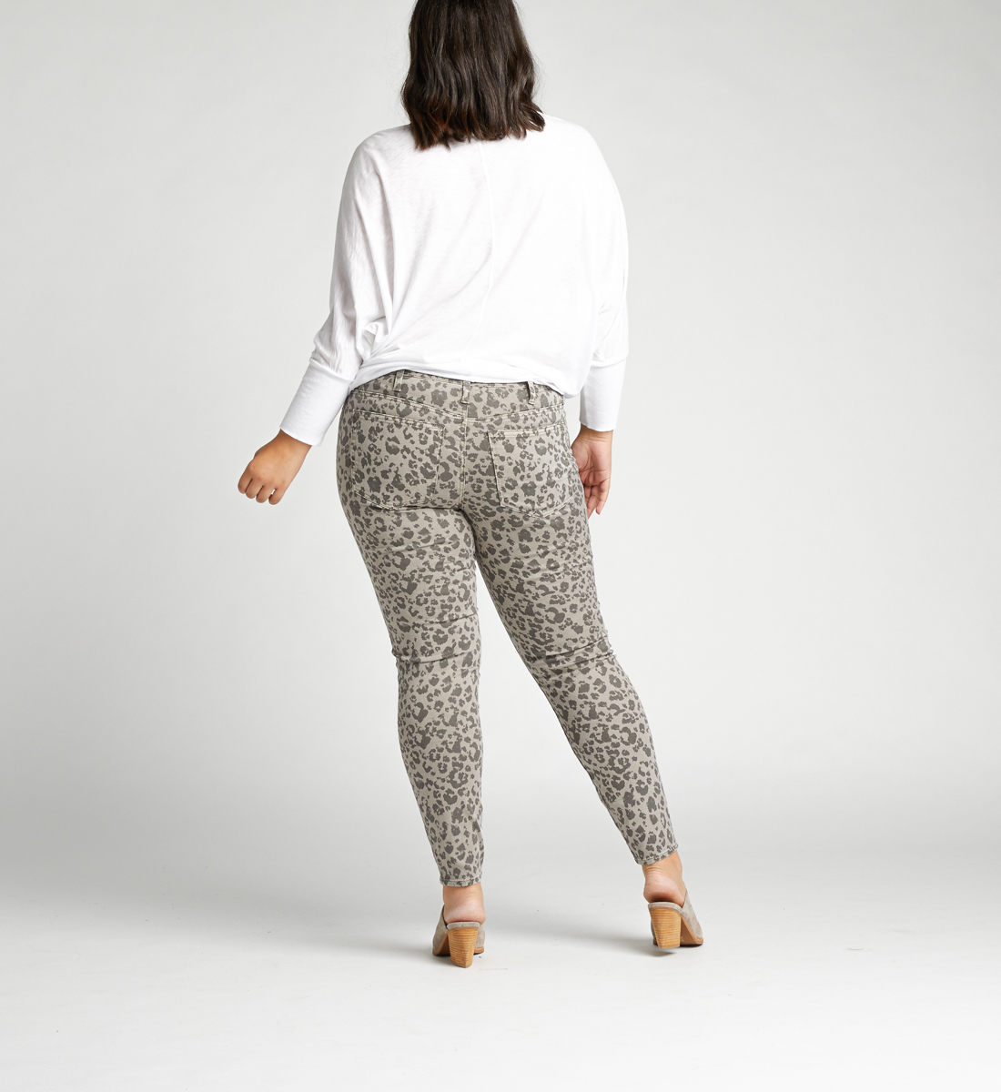 Most Wanted Mid Rise Skinny Plus Size Jeans,Grey Back