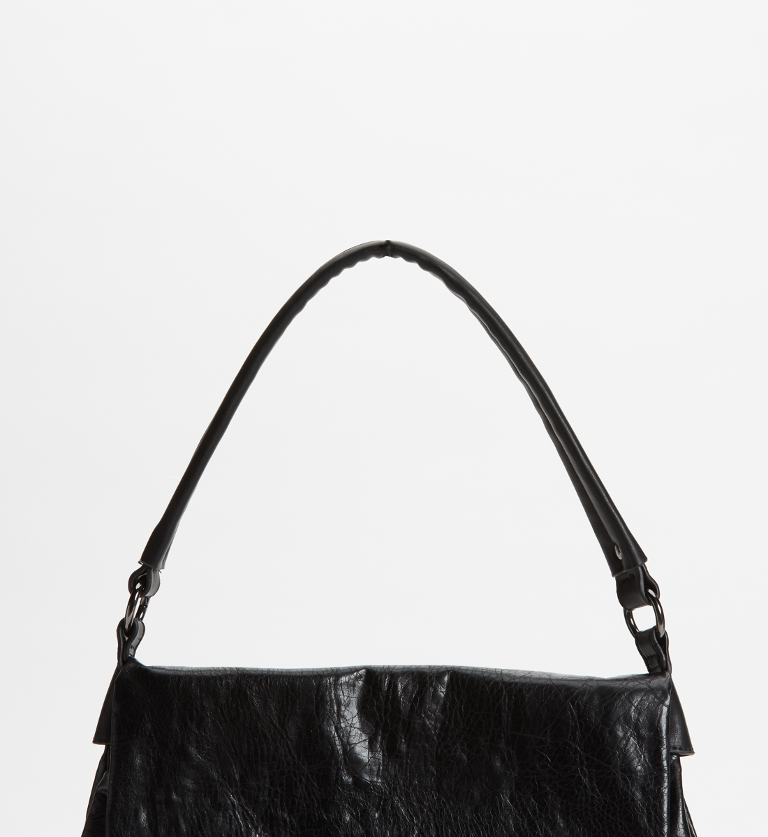Flap Satchel,Black Side