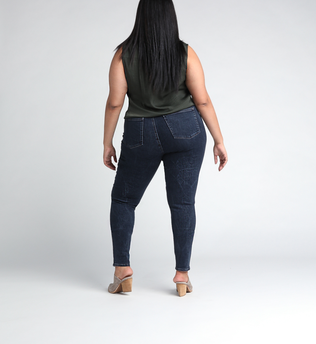 Calley Super High Rise Skinny Leg Jeans Plus Size Back