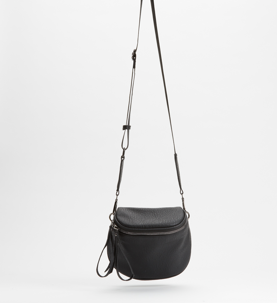 Zip Saddle Bag,Black Front