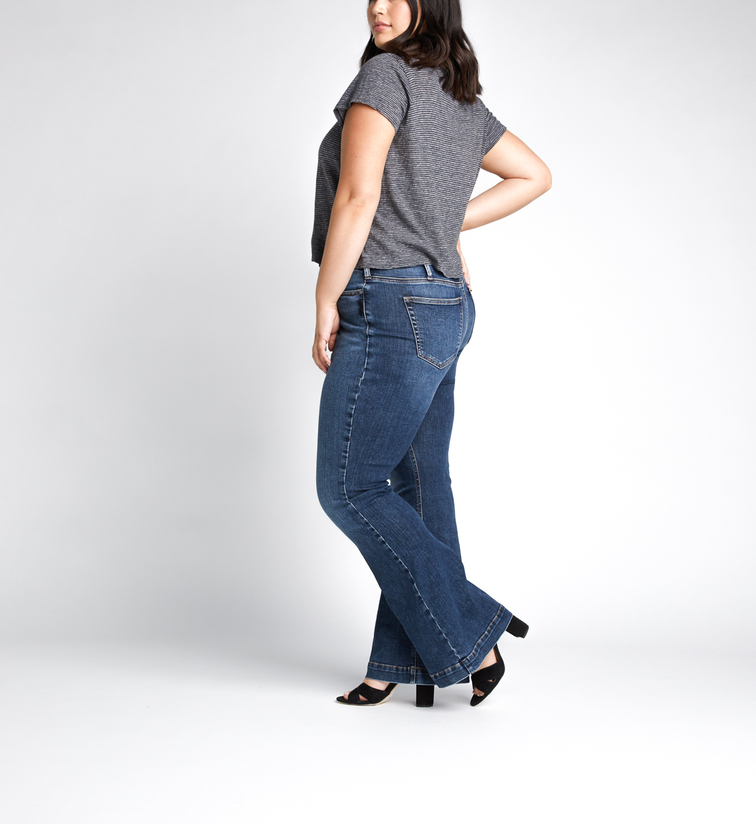 High Note High Rise Flare Jeans Plus Size,Indigo Side