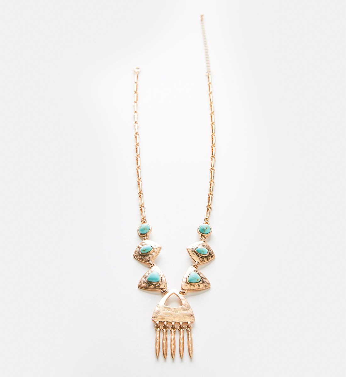 Gold-Tone Hammered Turquoise Necklace Back