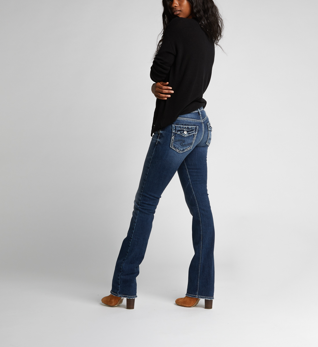 Silver Jeans Co Womens Suki Slim Mid Rise Boot Cut Jeans
