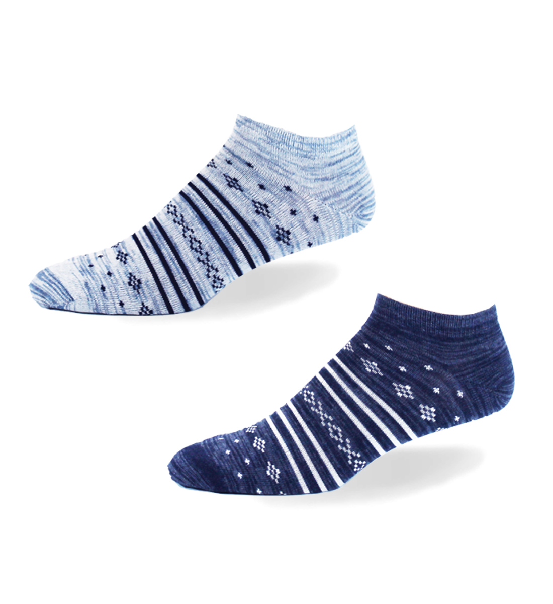 Aztec Patterned Ankle Socks,Denim Front