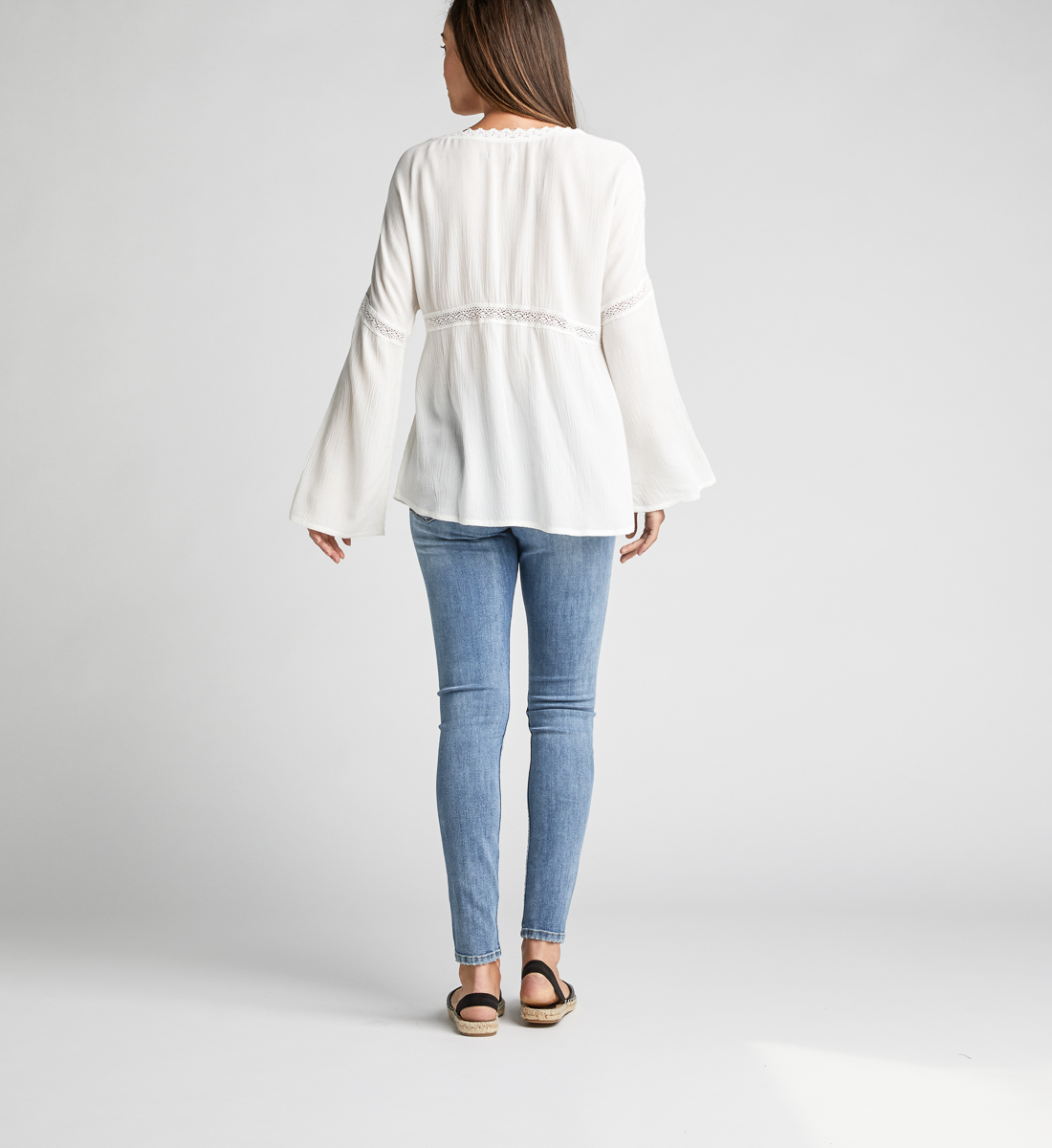 Sally Lace-Trim Peasant Blouse,Off White Side