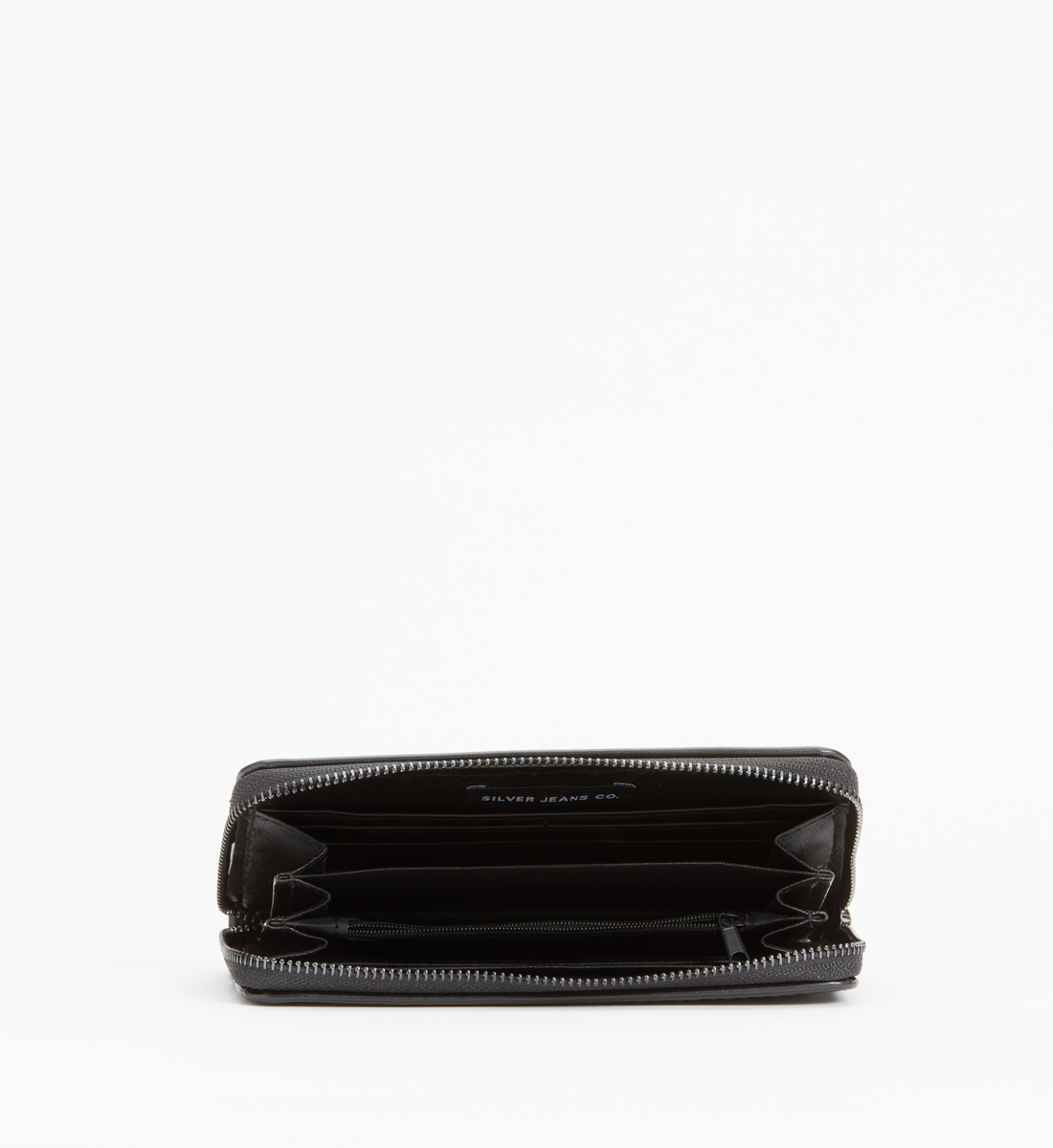 Zip-Around Laser-Cut Star Wallet,Black Side
