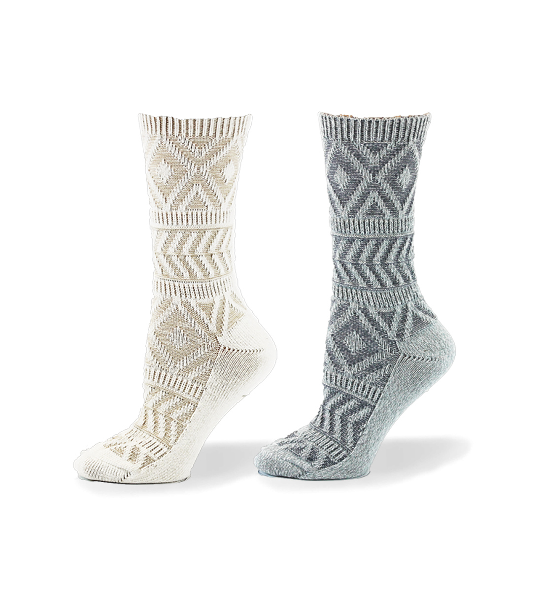 Aztec Textured Mid-Calf Socks, Light Grey, hi-res