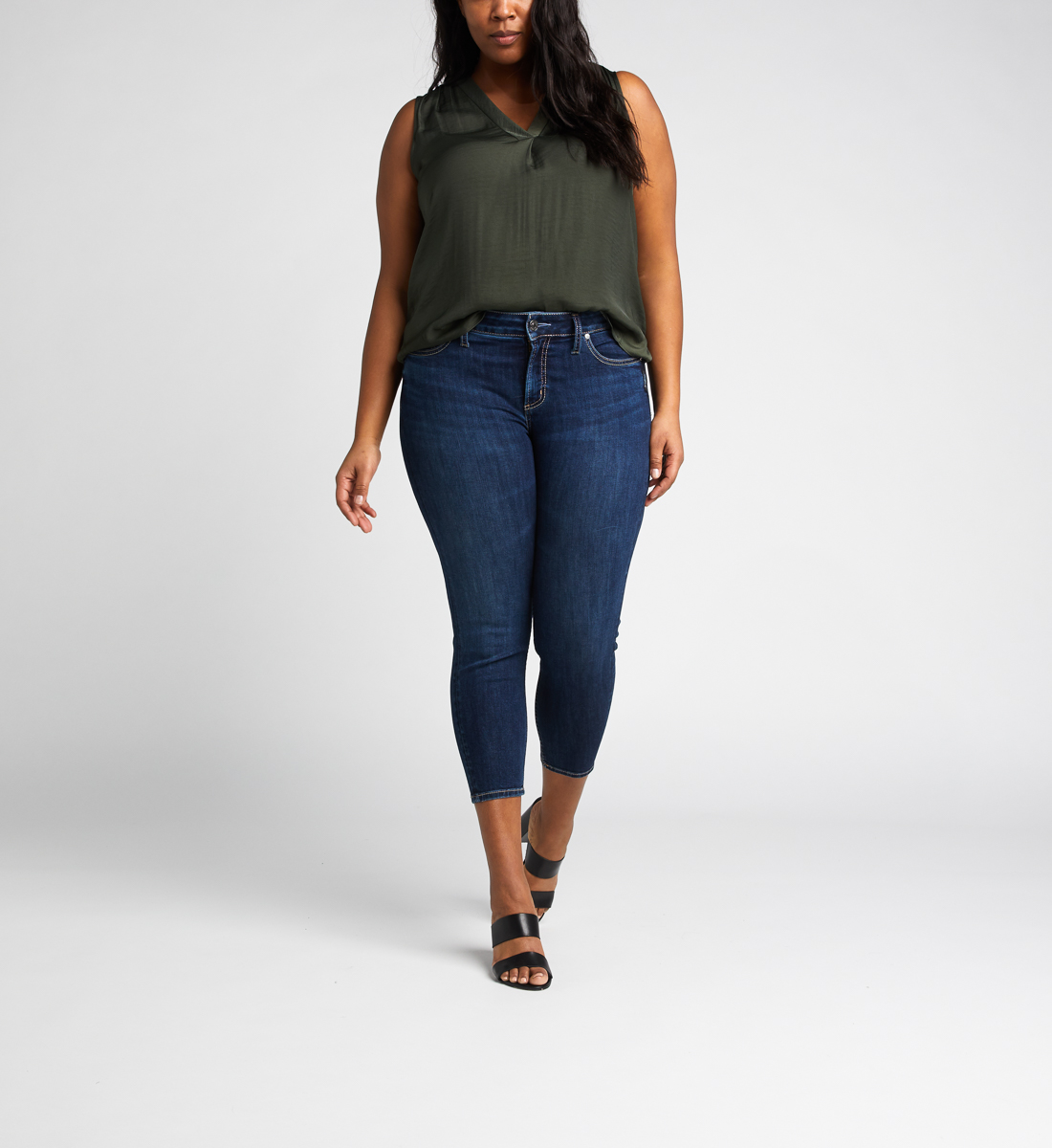Suki Mid Rise Skinny Crop Jeans Plus Size Front