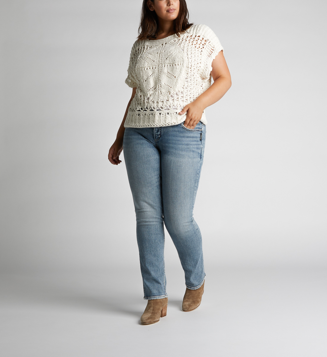 Silver Jeans Co Womens Plus Size Suki Curvy Mid Rise Straight Fit Jeans