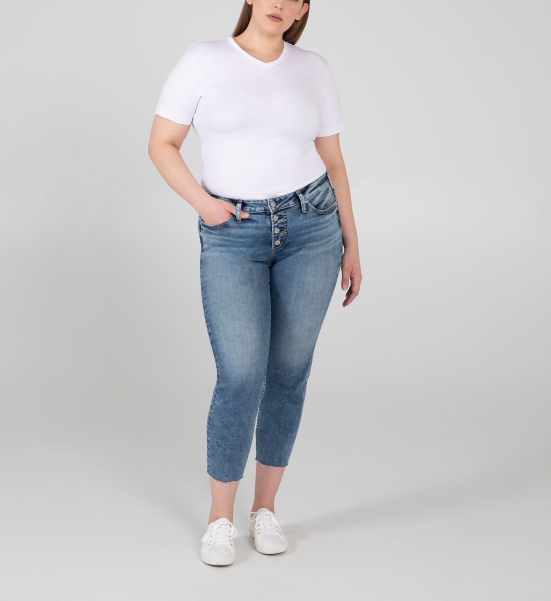 Silver Jeans Suki Mid Rise Skinny Crop Jeans Plus Size