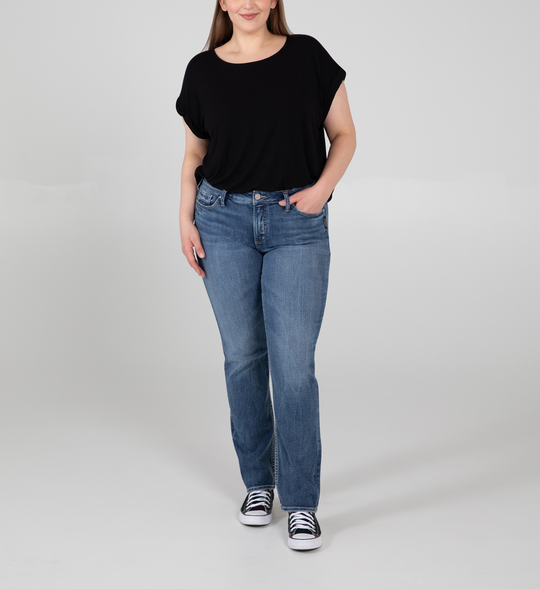 Silver Jeans Elyse Mid Rise Straight Leg Jeans Plus Size