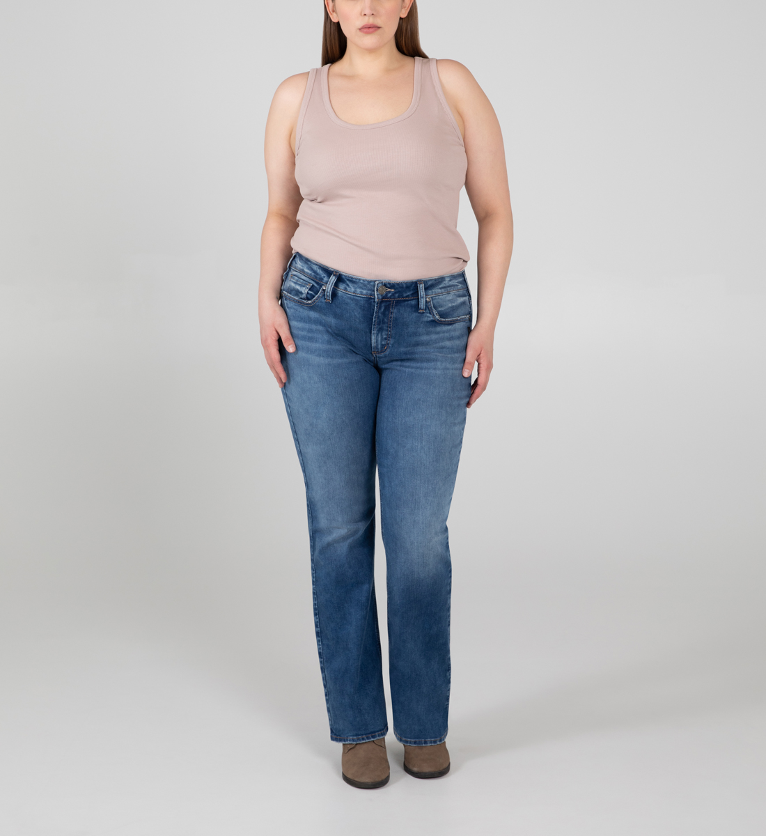 Silver Jeans Elyse Mid Rise Slim Bootcut Jeans Plus Size - Eco-Friendly Fabric