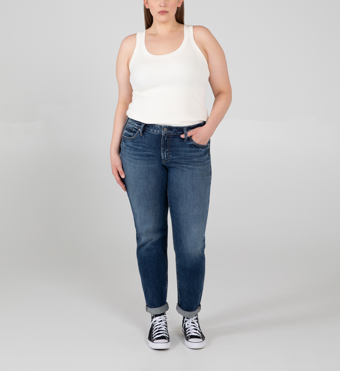 Silver Jeans Boyfriend Mid Rise Slim Leg Jeans Plus Size
