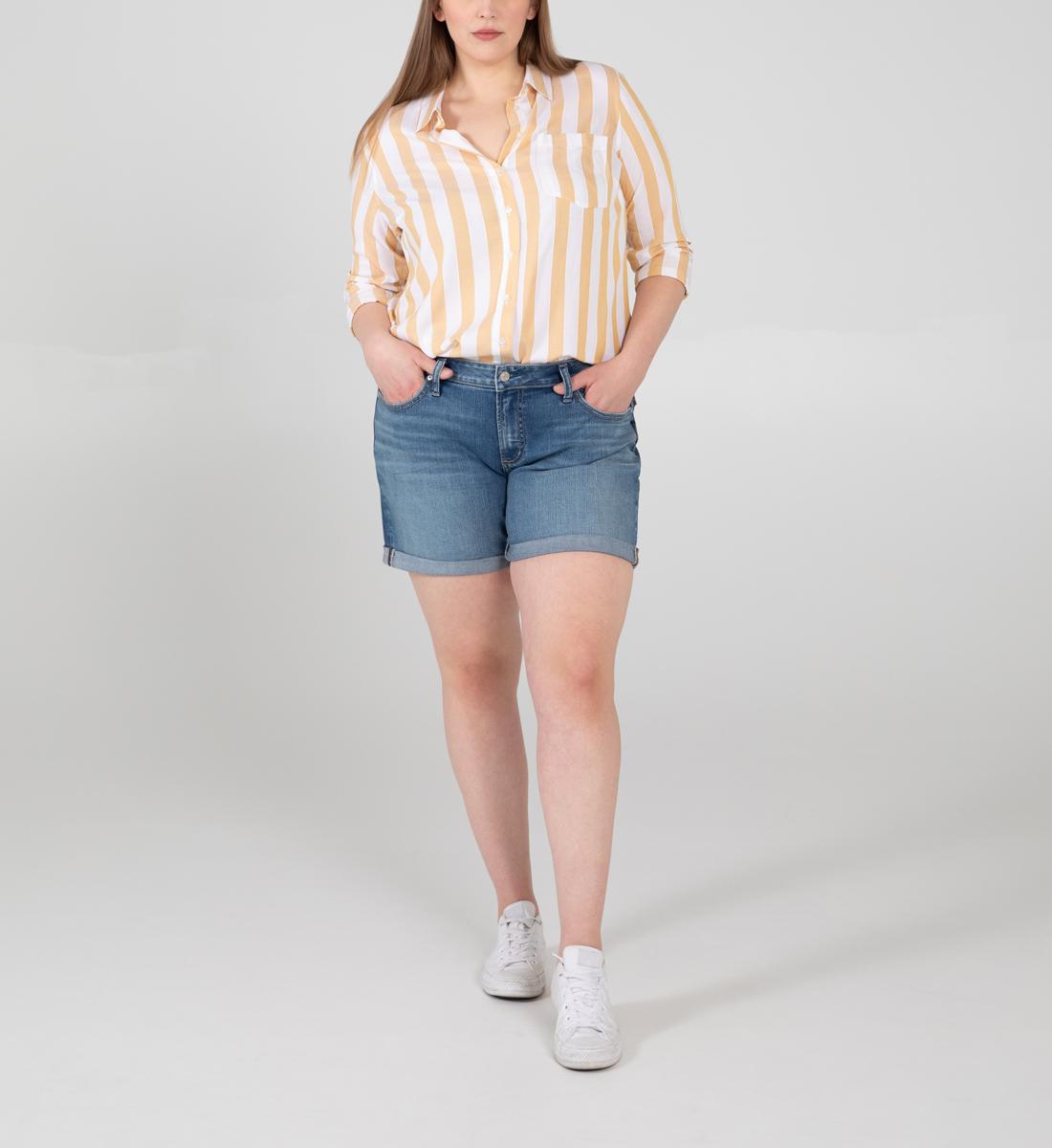Silver Jeans Boyfriend Mid Rise Shorts Plus Size