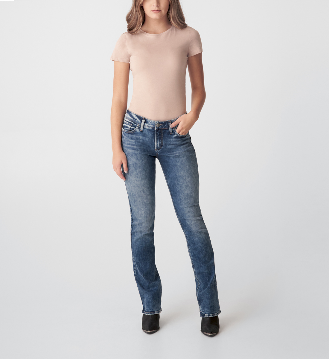 Silver Jeans Elyse Mid Rise Slim Bootcut Jeans