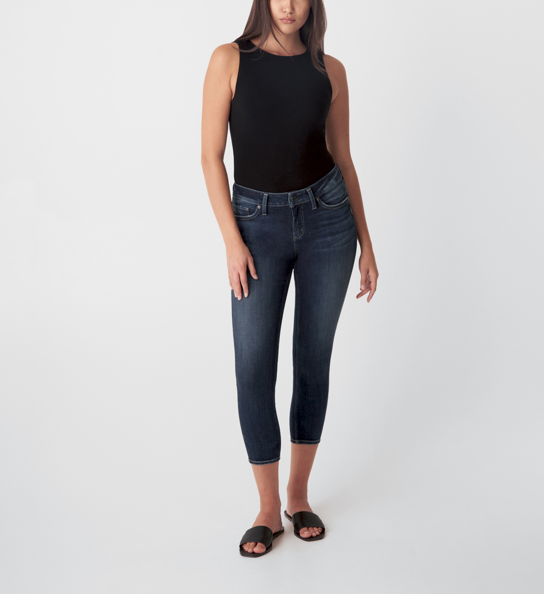 Silver Jeans Elyse Mid Rise Skinny Crop Jeans