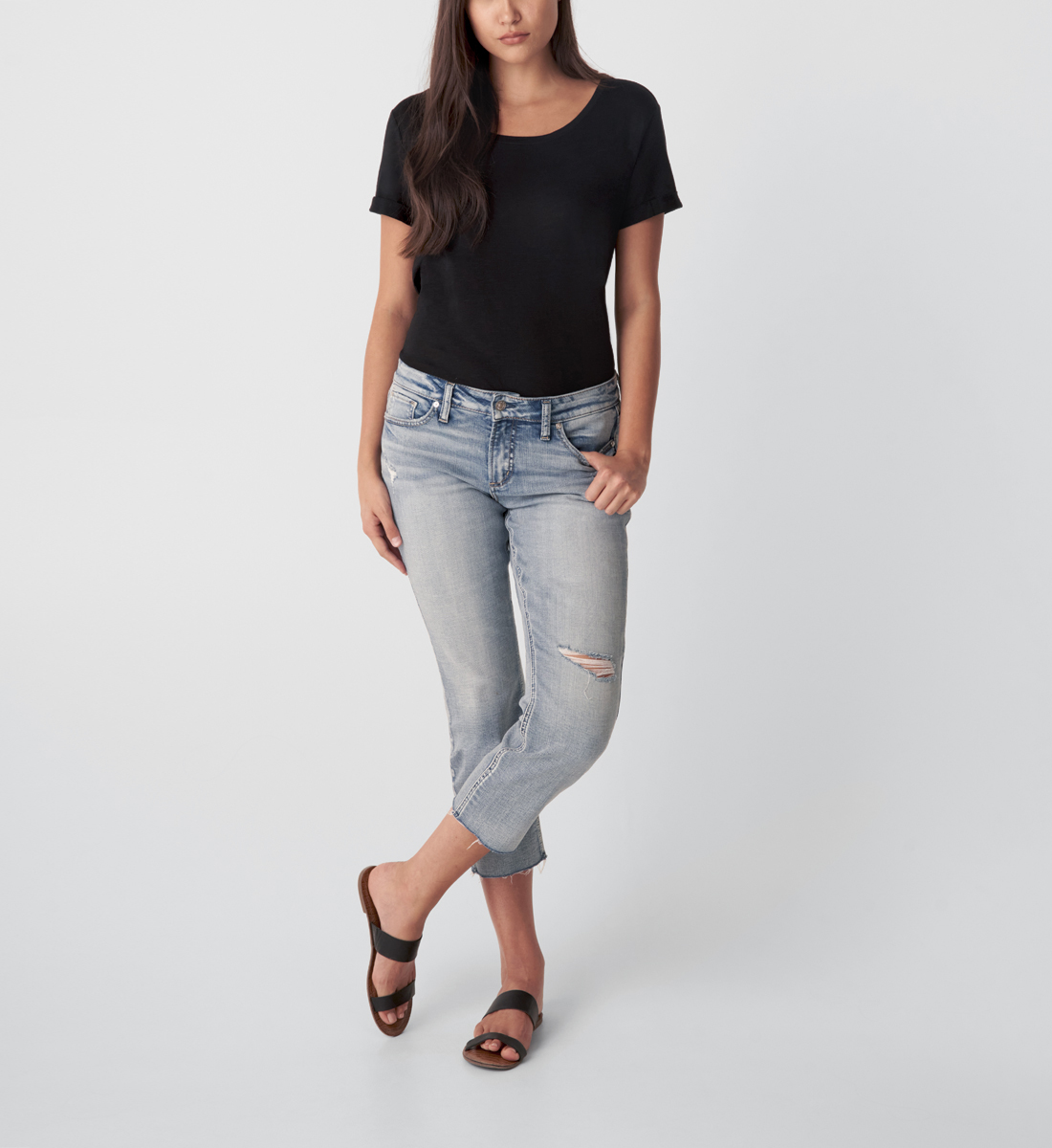 Silver Jeans Elyse Mid Rise Straight Crop Jeans