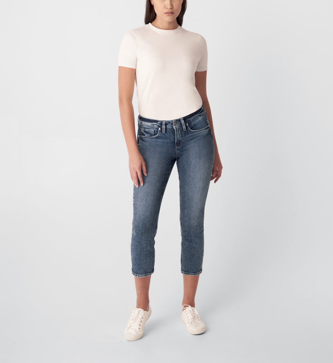 Silver Jeans Suki Mid Rise Straight Crop Jeans