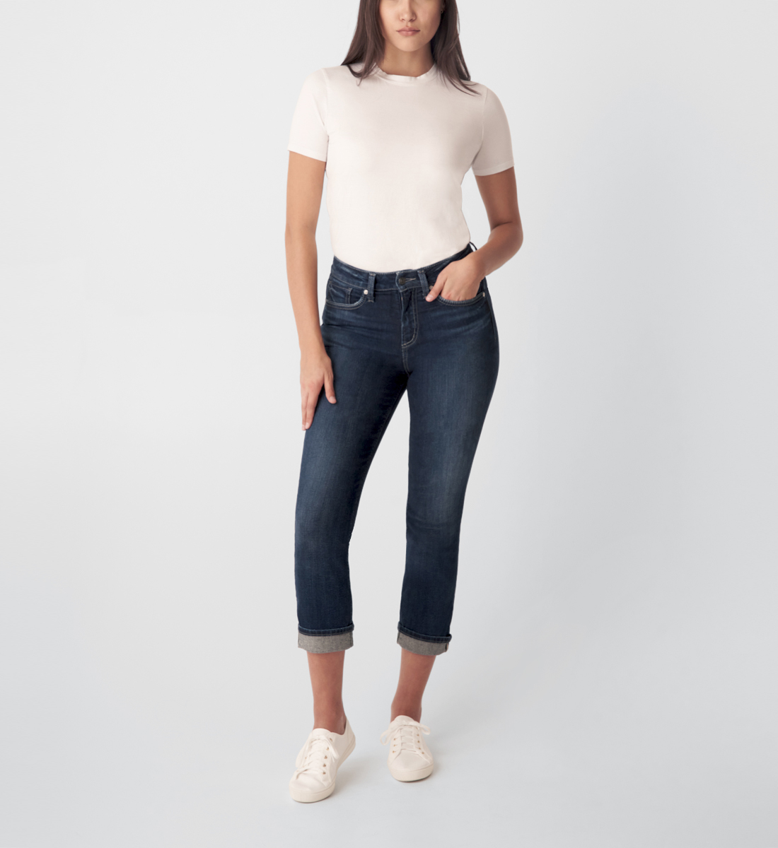 Silver Jeans Avery High Rise Straight Crop Jeans