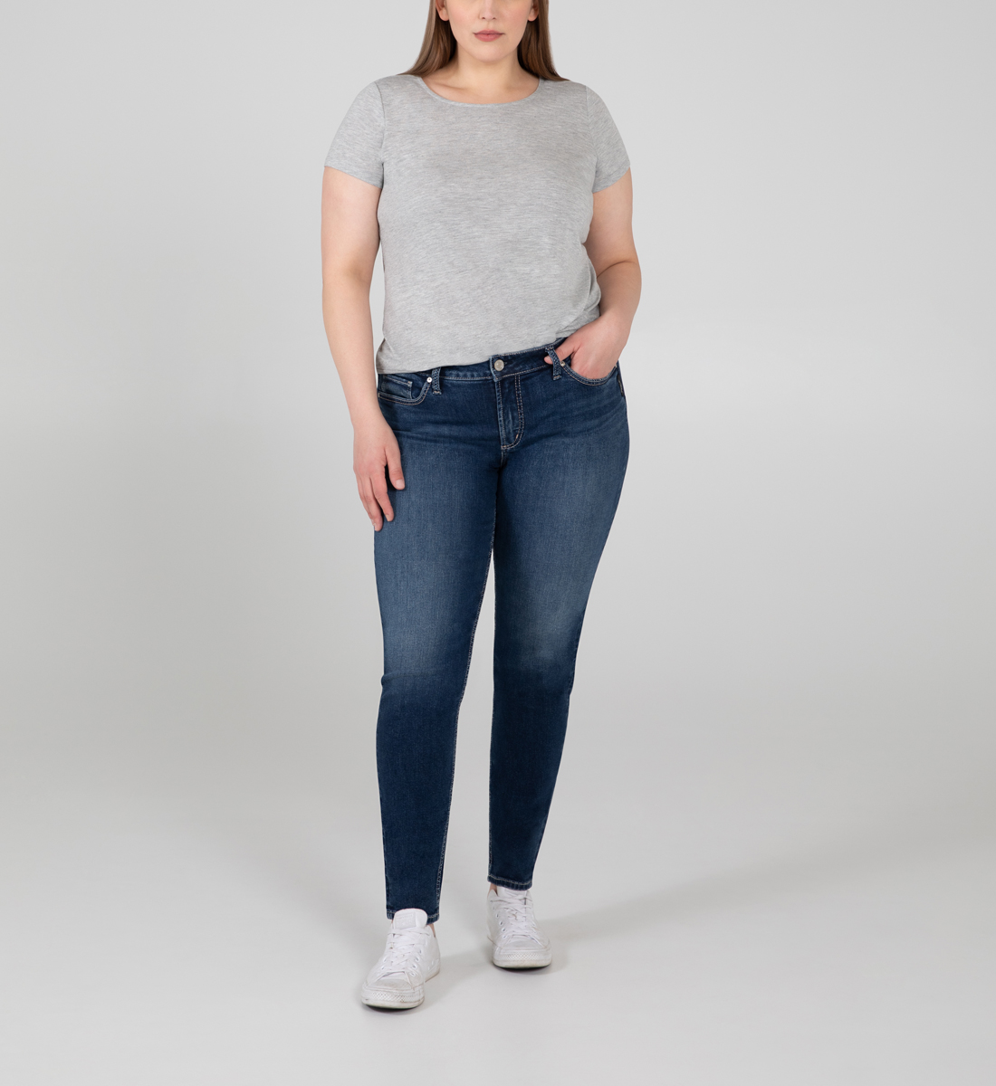 Silver Jeans Elyse Mid Rise Skinny Jeans Plus Size