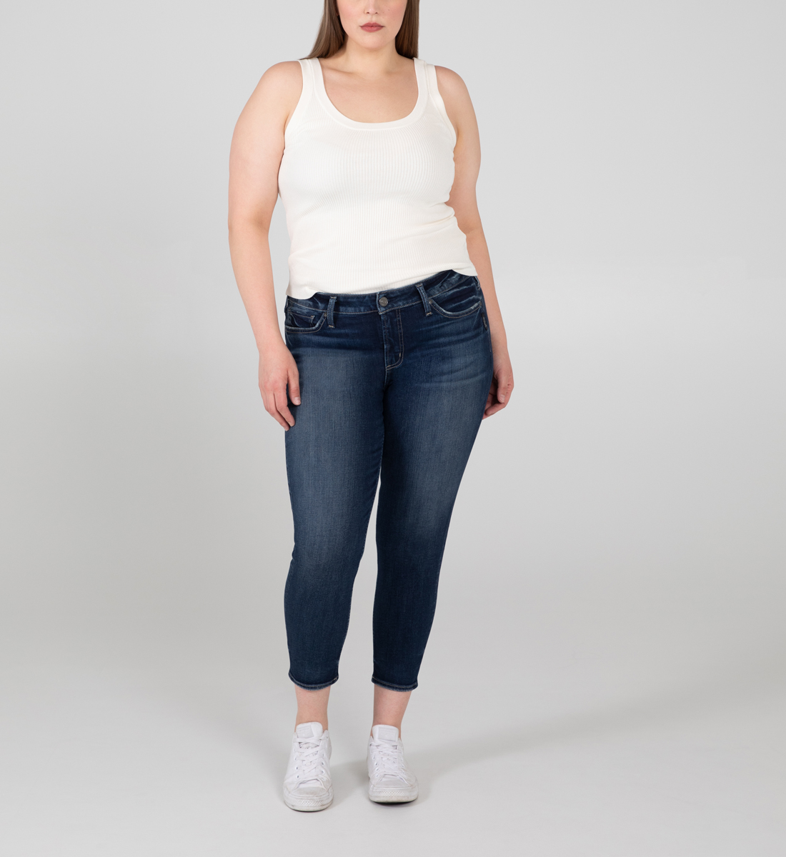 Silver Jeans Elyse Mid Rise Skinny Crop Jeans Plus Size