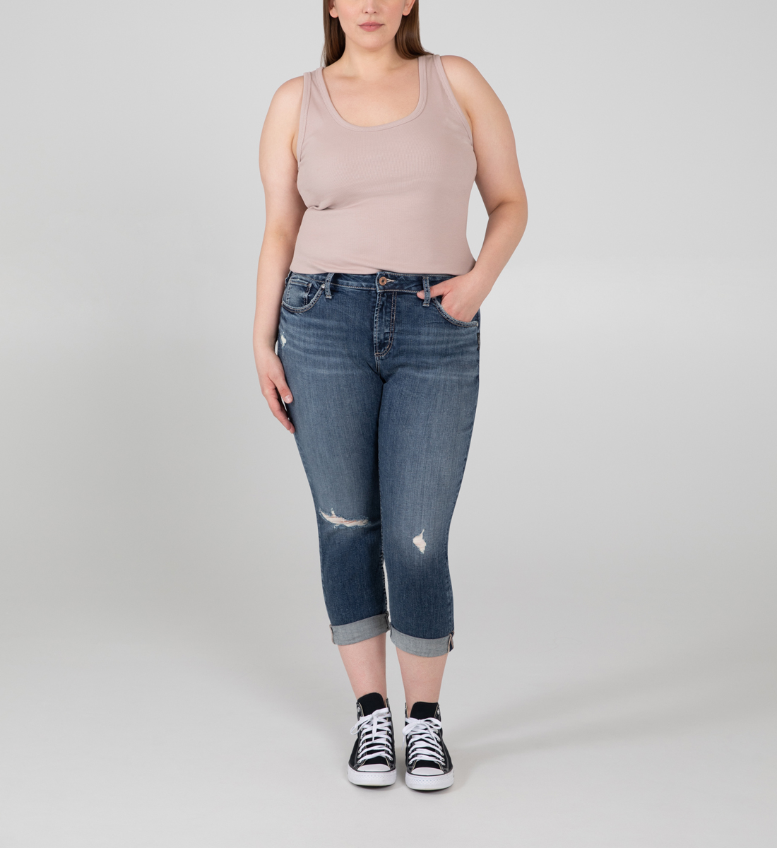 Silver Jeans Avery High Rise Skinny Crop Jeans Plus Size
