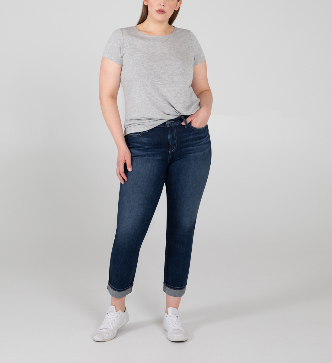 Silver Jeans Avery High Rise Straight Crop Jeans Plus Size