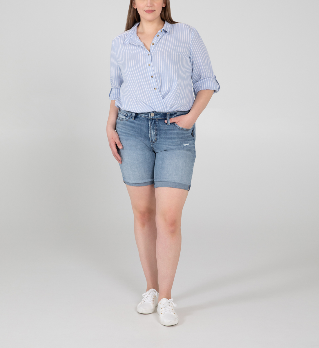 Silver Jeans Avery High Rise Bermuda Short Plus Size